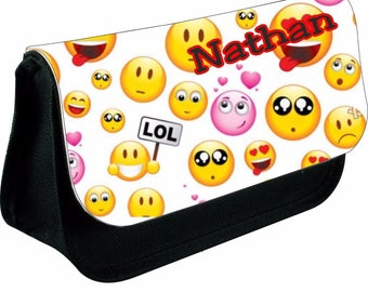Personalised emoji mash up zipped pencil makeup case school ds bag gift xmas