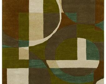 Green Geometric Rug