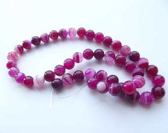 46 smooth round beads 8 mm pink agate STAR-156