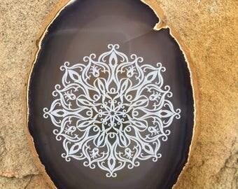 Mandala Engraved Agate Slice Pendant