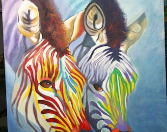 "oil on canvas portrait ""zebras"""
