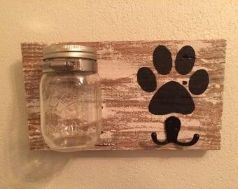 dog leash holder. dog treat holder. pet sign. wood sign.