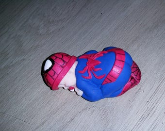 Baby Spiderman only while polymer clay ideal for decoration