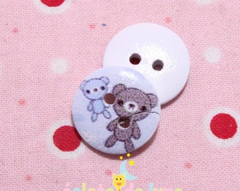 2 round buttons wooden two hole patterns Cubs blue 15 mm