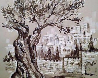Old City Jerusalem view.judaica drawind,judaica wall art,graphical work
