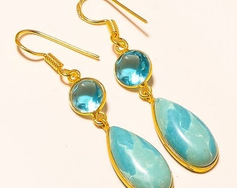 Lovely ! Carbbian Larimar 14 Caret Gold Plated Jewelry Earring