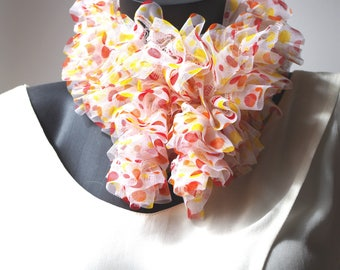 Pretty multicolored dots in light tulle ruffle scarf, it is about 110 cm.