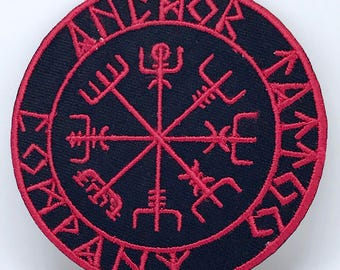 794# Viking Helm Of Terror Red and Black Iron/sew On Embroidered Patch