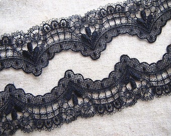 Fine scalloped black guipure lace trim