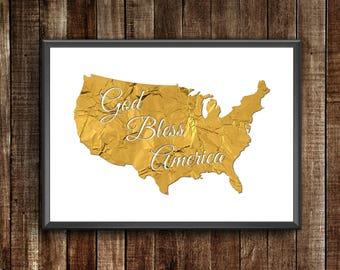 God Bless America   Gold Foil Map   Gold Foil Poster  Gold Foil Wall Art   USA Map   USA Wall Map   Gold Foil Home Print   USA decor
