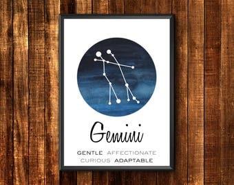 Gemini Print   Gemini Constellation   Gemini Poster   Gemini Wall Art   Gemini Art Print   Gemini Astrology Kid   Gemini Constellation Print