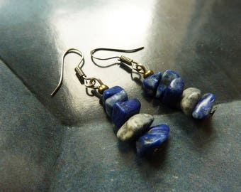 Bohemian earrings rustic boho gemstone lapis lazuli chips