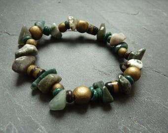 Rustic artisan beads of gemstone, glass and wood bracelet