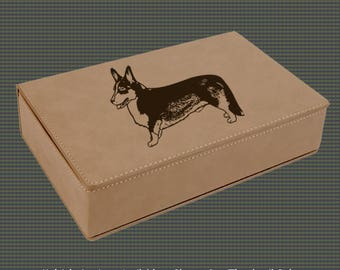 Leatherette Flask Gift Set - Corgi Designs