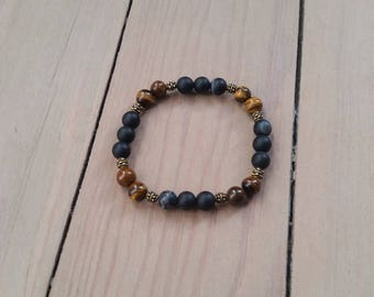 Opaque agate mens bracelet and Tiger's eye - 8 mm beads
