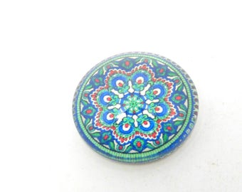 2 glass cabochon green flower 20mm round