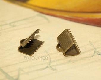 20 nails Bronze tie clip clamp M00402 Ribbon 10mm