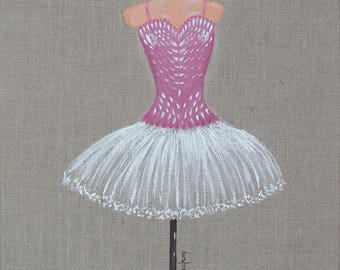 Painting on natural linen, ballet dancer tutu, 30 x 30 cm