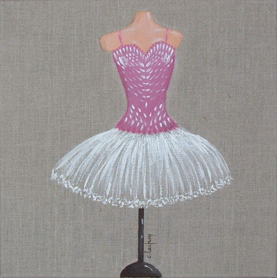 peinture sur toile de lin naturel tutu de danseuse classique