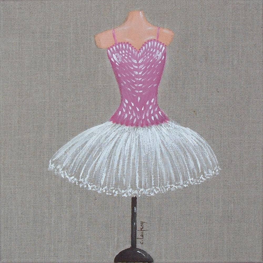 peinture sur toile de lin naturel tutu de danseuse classique. Black Bedroom Furniture Sets. Home Design Ideas
