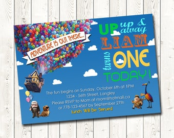 UP Birthday Invitations,Up Up and Away Birthday Invitation,Birthday Invitations, Digital Download, You Print, Printable Invitations