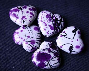 Hearts acrylic Inkblot Violet beads x 5 2 cm