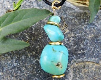 "Pendant ""G"" with natural turquoise"