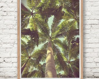 Palm Trees, Tropical Decor, Wall Art, Digital Instant Download, Botanical, Dusty Colour, Vintage, Romantic Beach Nostalgia