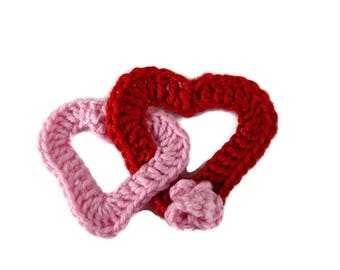 2 hearts intertwined red and pink cotton crochet