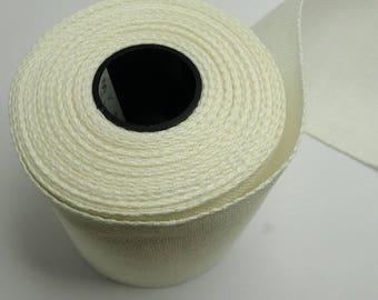 Bande lin à broder 8 cm x  50 cm blanc cassé, toile broderie zweigart lin 11 fils