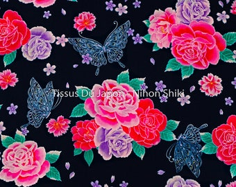 2 Japanese fabric meters - flower fabric - fabric Butterfly - Butterfly pattern fabric - Japanese fabric flower - blue floral fabric 200x106cm MY21