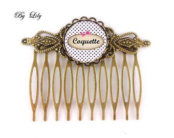 """Hair Combs set of 2 """"Coquette"""", retro image cabochon!"""