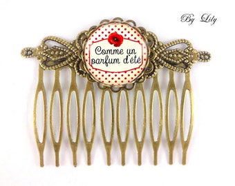 """Hair Combs set of 2 """"as a summer scent"""", retro image cabochon!"""