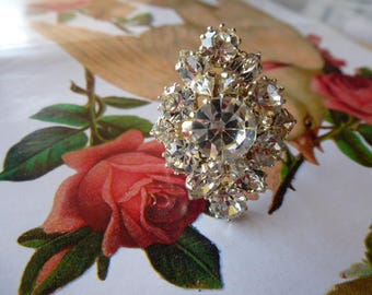 clear Crystal rhinestone cabochon ring size 56 adjustable