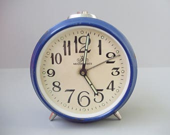 Vintage blue Mesister Anker alarm clock,German clock,Table/Alarm clock
