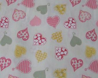 Fabric cotton multicolored hearts sold by 10 cm x 110 cm