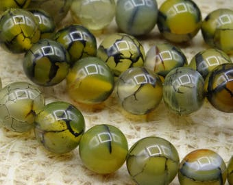 10 round beads 10mm dragon vein agate
