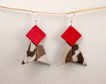 Fabric earrings raspberry pink and Brown
