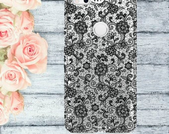 Black LACE clear case Pixel silicon LACE case Google Pixel XL Google Pixel Google PixelXL case with black lace white lace case