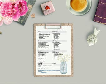 Cleaning Schedule with Christian Scripture, Bible, Printable