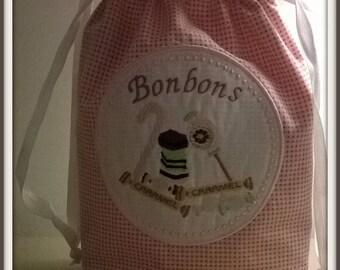 Tilda pink embroidered fabric bonbonsen bag