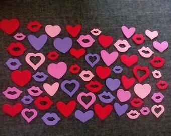 set of 50 hearts and kisses self-adhesive foam