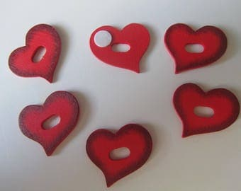 Set of 6 stickers - red wooden hearts