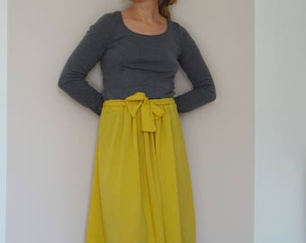 Skirt in yellow cotton elastic bow