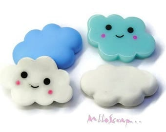Set of 4 clouds, blue, white resin, polymer scrapbooking card (ref.410). *.