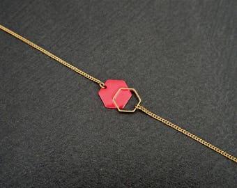Enamel jewelry - Strawberry red Hexagon minimalist Bracelet