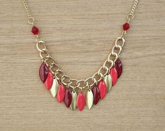 Boho necklace red Apache - enameled jewelry