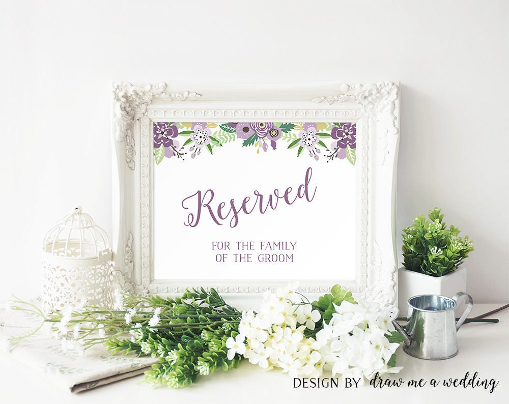 Reserved Sign Wedding Purple Printable Signs Seating Floral Bridal