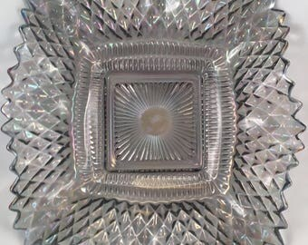 Vintage Carnival Glass Smoked Iridescent Square Dish in Diamond Pattern