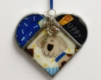 Stained Glass Heart Puppy Dog ~ Two-Sided ~ 3.5 Inches with Pawprint and Bone Charms